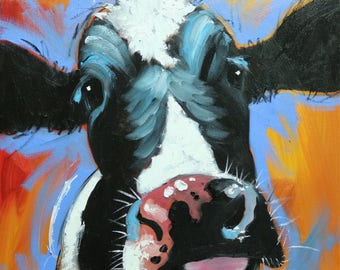 Cow painting 1216 20x20 inch animal original oil painting by Roz