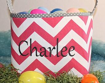 Personalized Hot Pink Chevron Basket, Easter Basket, Custom Basket, Easter, Storage, Room Decor