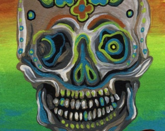 ACEO ATC Original Gouache Painting Suga Skull Day of the Dead Art-Carla Smale