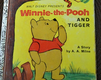 Vintage Children's Book  Winnie the Pooh and Tigger  Little Golden Book A.A.Milne