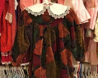 Floral Velvet Dress 2T
