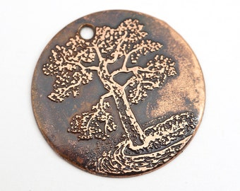 Round tree pendant, flat etched copper charm, 28mm