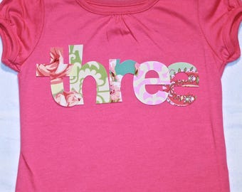 Girls Pink THREE shirt for 3rd Birthday  - size 4 short sleeve dark pink shirt - lettering in pink, mint green, aqua blue