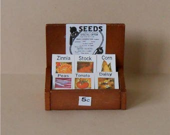 Miniature Seed Display~Miniature Seed Packets with Rack~Miniature Seeds~Miniature Garden~Dollhouse Miniature Seed Display