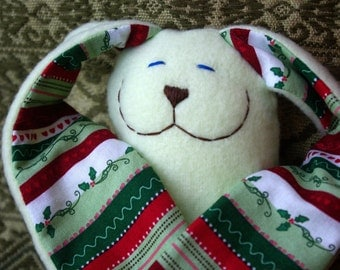 2016 Limited Edition Christmas Fleece Plush Snuggle Bunny in Holly Green RTS Ready to Ship