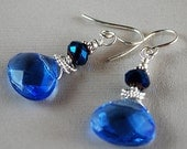 HOLIDAY CLEARANCE Blue El Dorado Earrings - Blue Glass Briolette Earrings - Sterling and Crystal Earrings - Happy Shack Designs