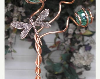 Dragonfly/Butterfly Garden Plant Stake - Metal Sculpture - Glass Copper Art - Yard Lawn Outdoor Pond Decor Green