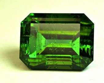 Vintage TOURMALINE Blue Green Faceted Gemstone Emerald Cut 16.95 cts fg231