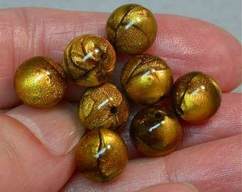Vintage LUCITE Beads TIGEREYE Gold Picasso 9mm pkg 8 res419