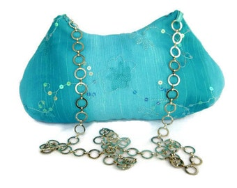 Evening Bag ,  Aqua Shoulder Purse , Turquoise Sequin Formal Handbag , Womans Pocketbook , Gift For Her