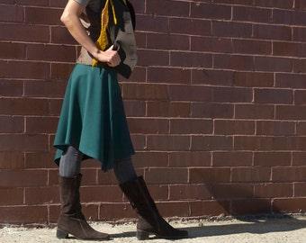 Womens Skirt, Midi Skirt, Wool Skirt, Organic Bamboo, Teal Blue Skirt, Office Wear, Knee Length, Asymmetrical, Travel Skirt, A Line Skirt