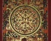 Traditional, Hand-Painted Thangka Painting Mandala from Nepal