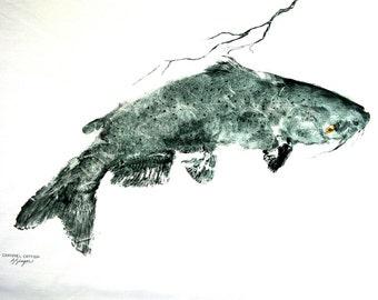 GYOTAKU fish Rubbing Lazy Catfish 8.5 X 11 quality Art Print Cottage Decor by artist Barry Singer