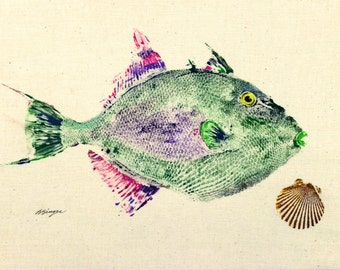 ORIGINAL Trigger fish best GYOTAKU fish rubbing wall art on Muslin Salt Water Game Fisherman gift by Barry Singer