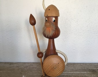 Vintage Danish Teak Viking Warrior, Mid Century, 1960s Scandinavian Viking  Collectible, Scandinavian Holiday