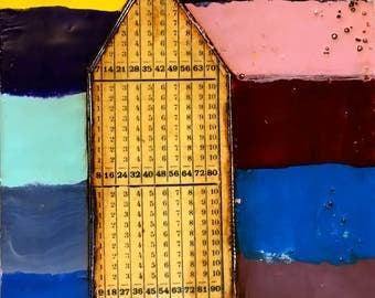 Original Encaustic Painting- Numbers House