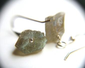 Raw Labradorite Earrings . Calming Jewelry . Spectrolite Earrings . Gemstone Cluster Earrings - Sagittarius Collection