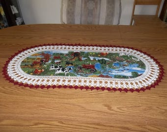 Crocheted Table Runner Farmall Red Tractors Farm Scene 17 X 36 Lace Table Runner Table Topper Oval Centerpiece Dresser Scarf Handmade Gift