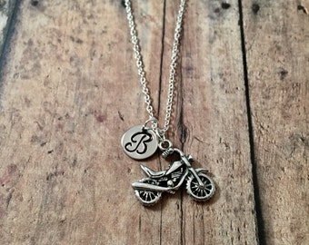 Motorcycle initial necklace - motorcycle jewelry, biker chick necklace, chopper jewelry, biker jewelry, pewter motorcycle necklace