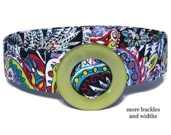 Multi Color Fabric Belt / Womens Ribbon Belt / Preppy Cloth Belt - Jewel Paisley Wide Belt Skinny Belt / Plus Sized Belt