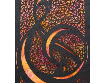 Treble ACEO Papercutting- Handcut Original, Watercolor Painting Background