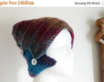 January Sale Blueberry Bun Hat/Headwrap/Winter Headband - Hand Knit Multicolor Blue and Purple Headwrap Ponytail Hat in 50/50 Wool/Acrylic B