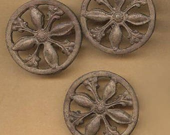 vintage brass findings arts and crafts style ornate circle, sturdy patina ox goth