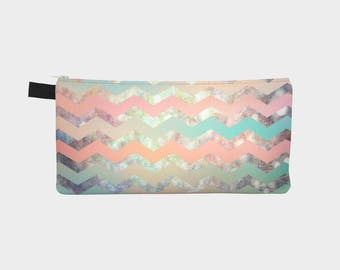 carry all bag- cosmetic bag- makeup bag- pencil case- coin purse- chevron design- pastel colors- toiletry bag- bridesmaid gift