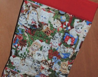 Oversized Quilted Christmas Stocking cat Kittens Kitty snowman Holiday Kittens Cute Free Personalization