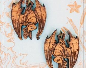 Hanging Bat engraved alder wood earrings, long ear bat