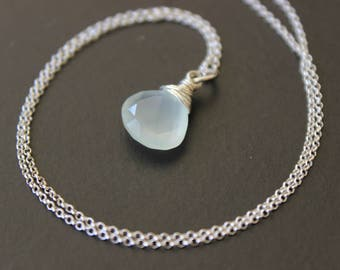 Seafoam Chalcedony Sterling Silver Necklace