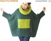 20% WINTER SALE Green - Lime Green Hand Knitted Sweater with Accordion Hood and Pocket Plus Size Over Size Tunic - Dress Sweater by Afra