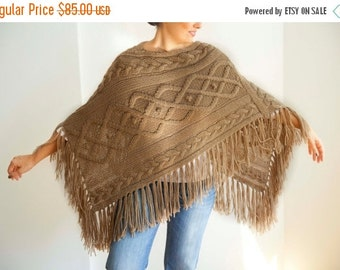 WINTER SALE Beige Cable Knit Poncho by Afra