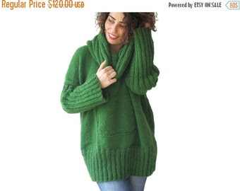 WINTER SALE NEW! Green Hand Knitted Sweater with Accordion Hood and Pocket Plus Size Over Size Tunic - Dress Sweater by Afra