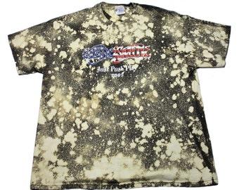 2002 Aerosmith Just Push Play Bleached Steven Tyler Concert Shirt Mens Streetwear Size XL