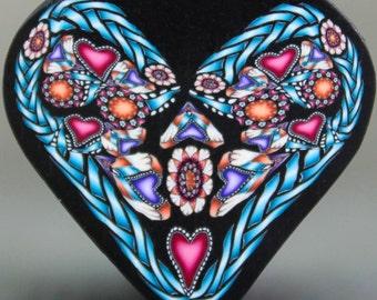 LARGE Polymer Clay Heart Cane -'Fresh Start' (30dd)