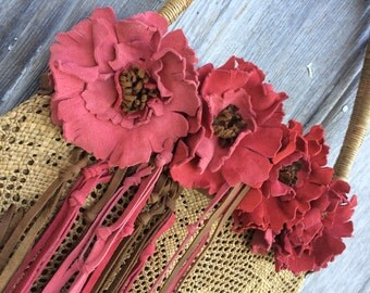 Vintage Woven Straw Bag with Leather Poppies by Stacy Leigh