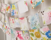 retro sheeting prayer festival flags, bunting, vintage style fabric sheet garland, banner, pennant, bunting banner, Spring Party Flags Decor