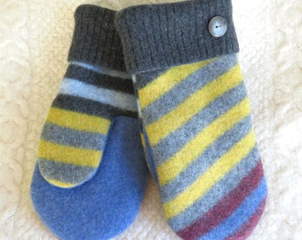 NEW! LINED Size Large/ or Men's Size, Wool Mittens, in Gray, Yellow and Blue Stripes, Eco Friendly Felted Wool Mittens