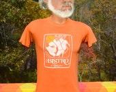 70s vintage t-shirt BISTRO holiday inn hotel danville soft thin tee Small Medium 80s