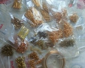 Big destash- gold plated & yellow brass findings, beads, wire, etc.