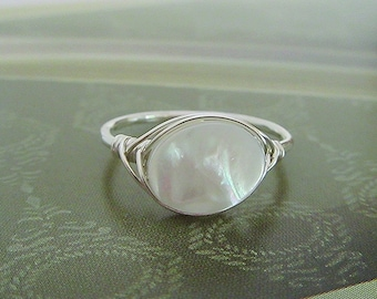 Mother of pearl wire wrapped ring, mother of pearl ring in Sterling Silver