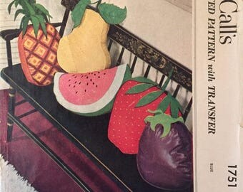 McCall's  Fruit Pillow Pattern #1751 - Vintage McCalls Pattern / Home Decor / Pillow Pattern / Sewing Pattern / 1950s Pattern
