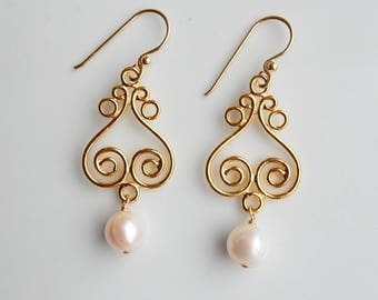 Gold vermeil chandelier earrings with white pearls, wedding jewelry, Gold plated sterling silver, gold, vermeil earrings
