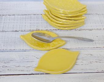 Made to order ceramic-  LEMONS- Coffee Spoon Rests -Favors - trinket dishes - Tea bag rests- Ring Holders- wedding favors- shower favors