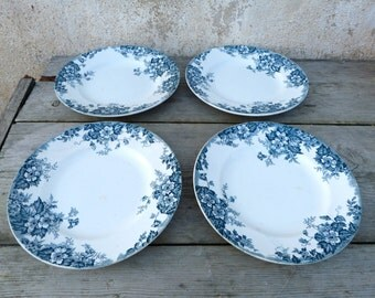 Vintage French 1900 Moulin des Loups St Amand Hamage Set of 4 transferware plates