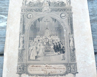 Antique 1875 religious print French print paper Holy communion /Baptism souvenir christianity