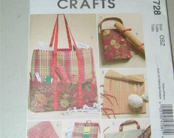 McCalls M4728 Knitting Sewing Organizers Pattern 12636 Hook Needle Case Tote