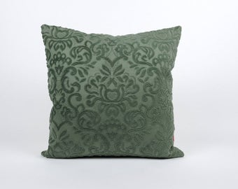 Green Velvet Pillow | Chenille Cushion Cover | Decorative Couch Pillow | Accent Pillow | Throw Pillow Cover | Handmade by EllaOsix