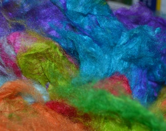 Sari Silk Spinning and Felting Fiber-1 oz colors separated pulled and carded